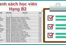 Danh sách học viên khóa học Ôtô B2 tại Trường Dạy Lái Xe Thái Sơn